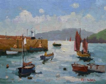 Eric Ward Original Oil Painting Boats At St Ives Cornwall
